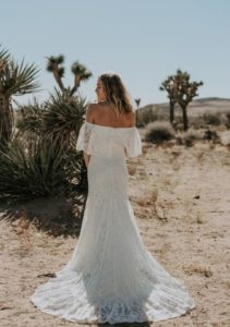off the shoulder, bohemian wedding, floral, lace