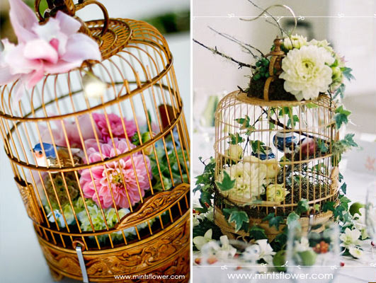 Bird cage centerpiece from mintflowers.com