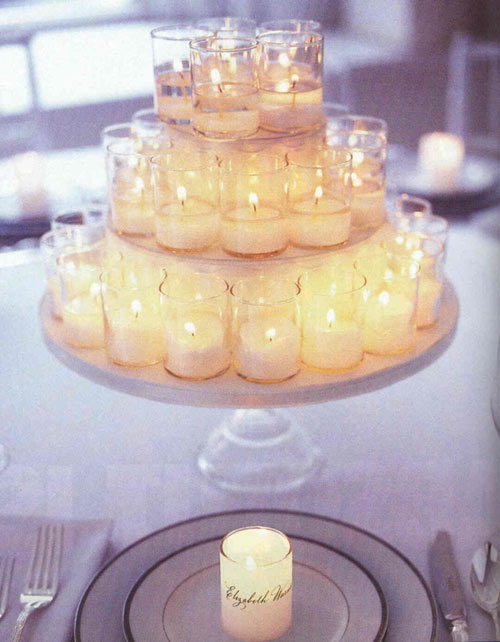 This centerpiece would add a romatic glow to a reception