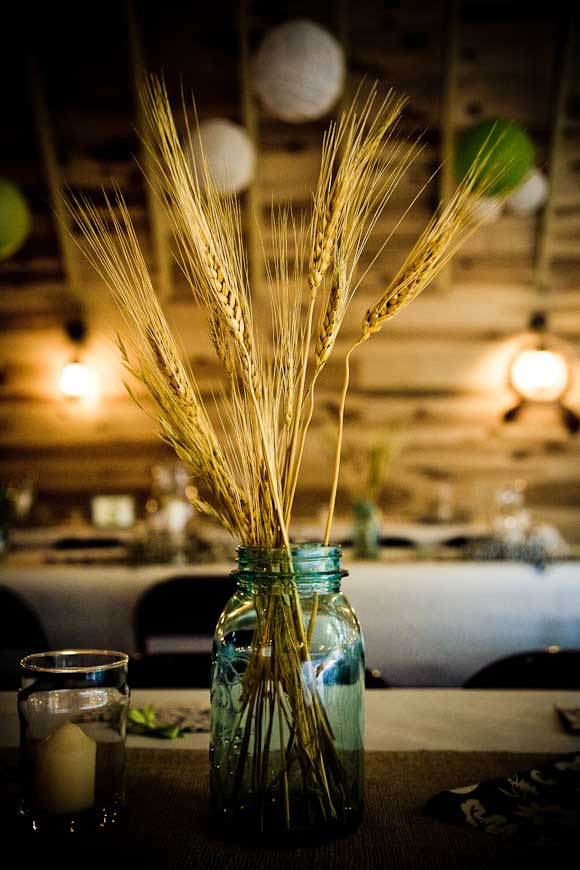 Lovely wheat and mason jar centerpiece, photo by Grise Photography