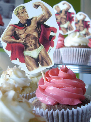 What's a bachlorette party without a half naked man standing on top of your cupcake?!