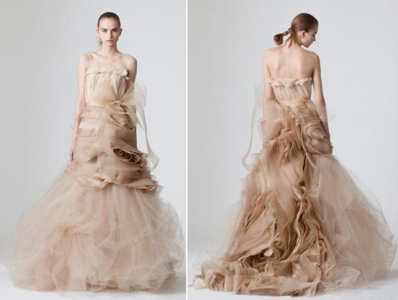 vera-wang-spring-2010-wedding-dresses-cocoa-taupe-color-strapless-tulle-intricate-rose-like-fabric-design