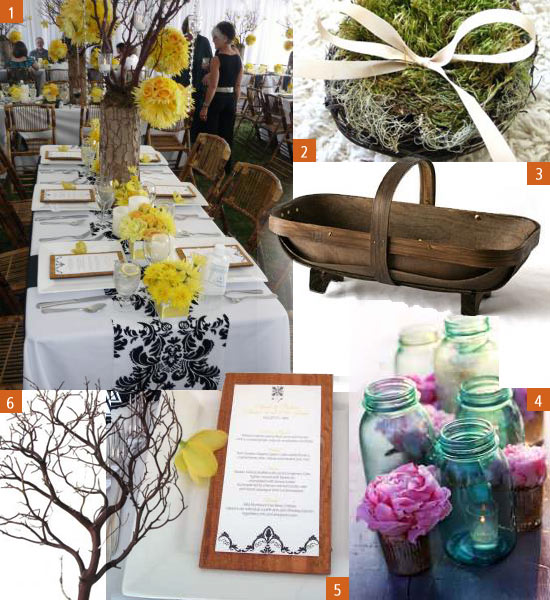 Below are just a few lovely rustic wedding items we found