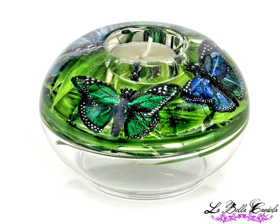 butterfly wedding favors Blue and Green butterfly candle holder made with