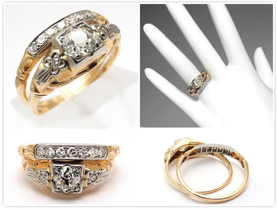 Antique Engagement Rings Bridal Set