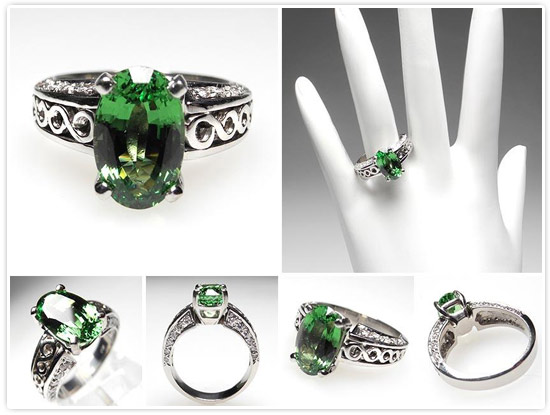Tsavorite Garnet & Diamond Engagement Ring