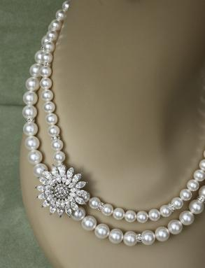 Custom 2-strand Swarovski Crystal/pearl & Rhinestone Necklace