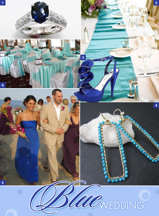 1 Shire Engagement Ring 2 Aqua Table Runners 3 Blue Wedding Shoes 4 Turquoise Earrings 5 Bridesmaid Dress 6 Tiffany Chair Sashes