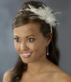 A Playful Way To Add Style Your Wedding This Headband Fascinator Features Side Ornament Of Feathers Rhinestones Beads And Swarovski Crystals