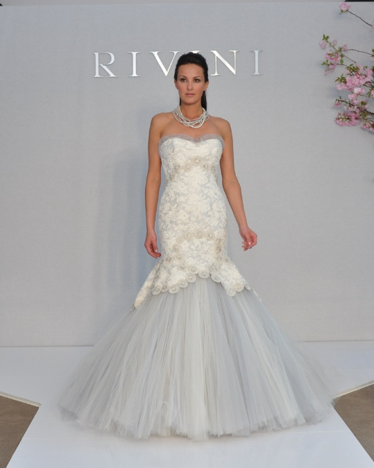 Wedding Dresses Color Baby Blue : This rivini wedding dress style ynie is white with a light blue skirt