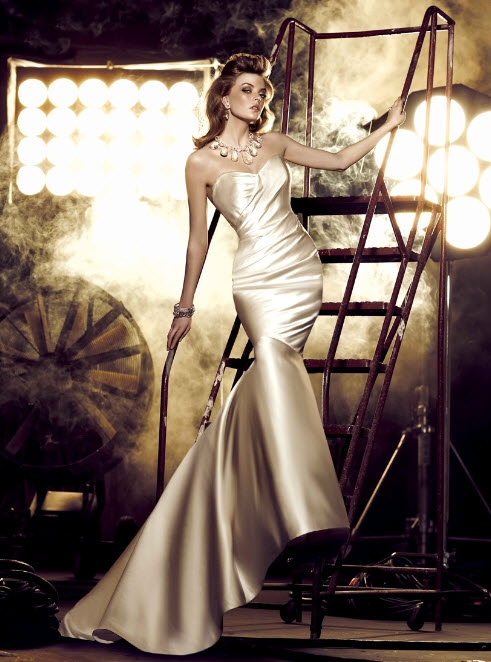 gold wedding dresses This gold Simone Carvalli gown is so glamorous you