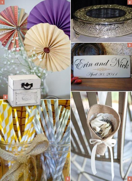 Used Shabby Chic Wedding Decorations : Pinwheels vintage cake stand custom wedding sign