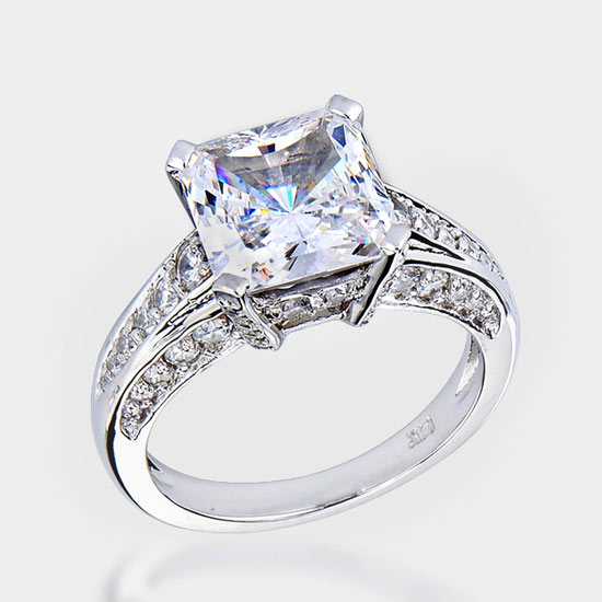 This is a 35 carat princesscut center accented with paveset round stones