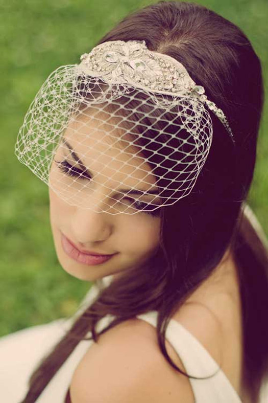 Headband with Birdcage Veil