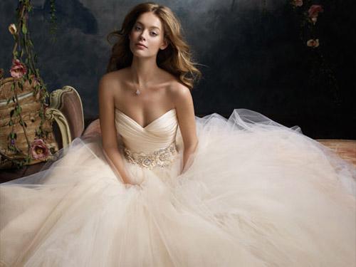 blush Lazaro wedding dress