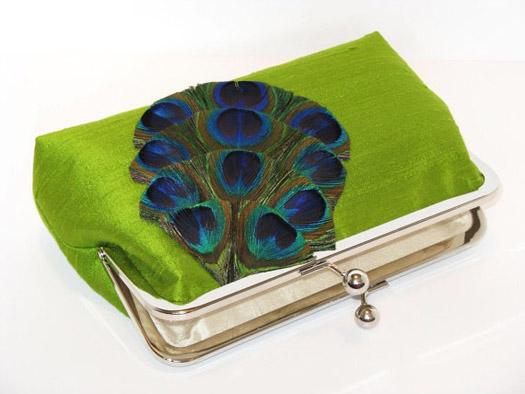 peacock bridal clutch