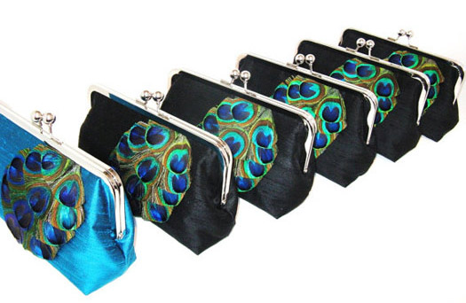 This set of 6 clutch purses are created in black silk dupioni and peacock