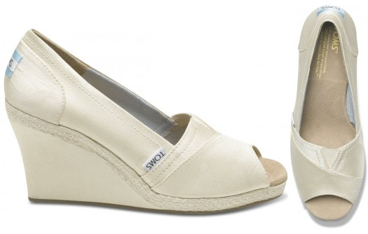 toms wedding shoes These ivory grosgrain wedges are an excellent option for