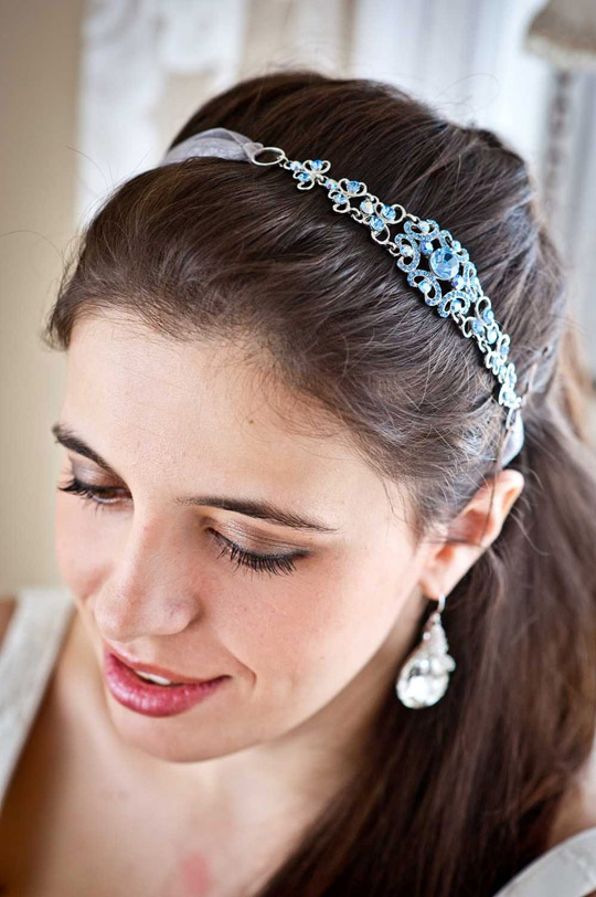 blue wedding headband