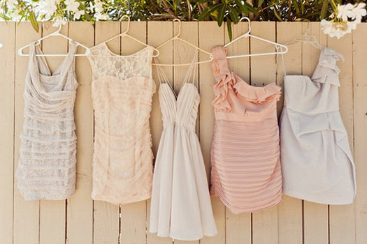 mis-matched bridesmaid dresses