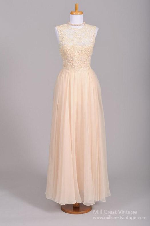 blush vintage wedding gown