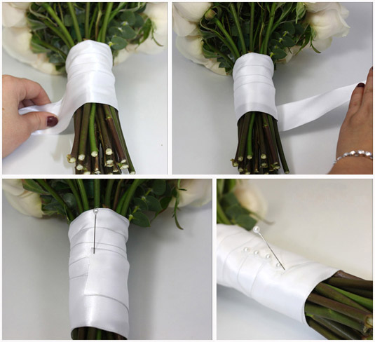 how to put ribbon around a wedding cake diy ribbon wrapped bouquet diy do it your self 16139