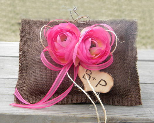 brown and pink ring bearer pillow