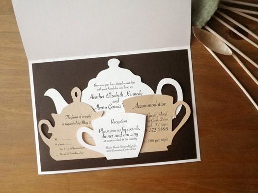 tea set wedding invitation