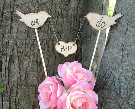 wood bird cake toppers