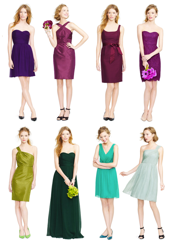 Mismatched jcrew bridesmaid dresses