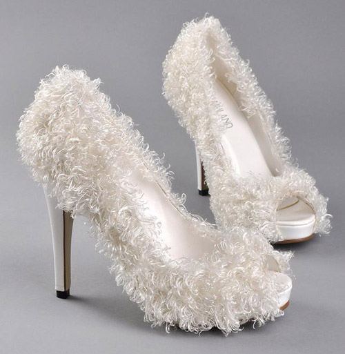 fur wedding shoes
