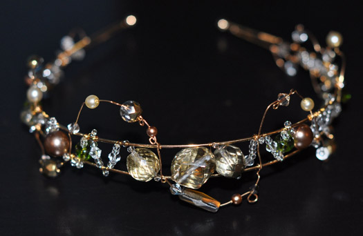 gold and crystal headband