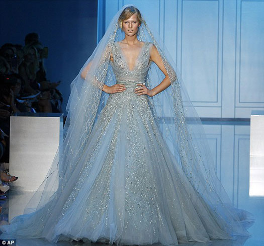 Elie saab blue wedding dress