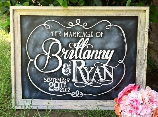 we love personal touches at weddings and these fun wedding chalkboards
