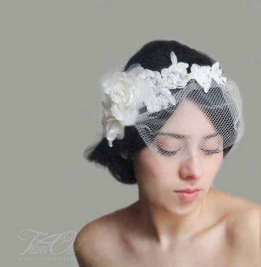 flowered wedding veil