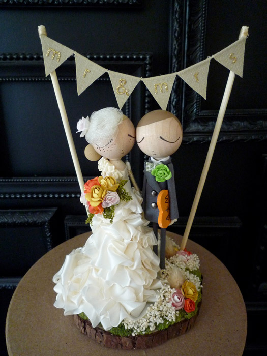 handmade bride and groom cake topper