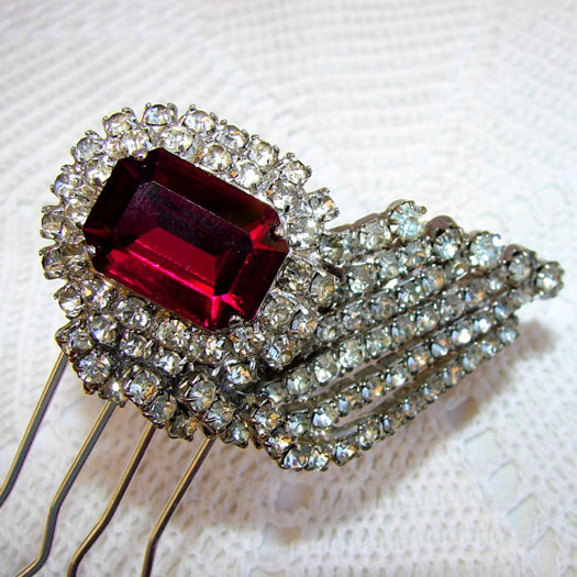 ruby and diamond hair accessories