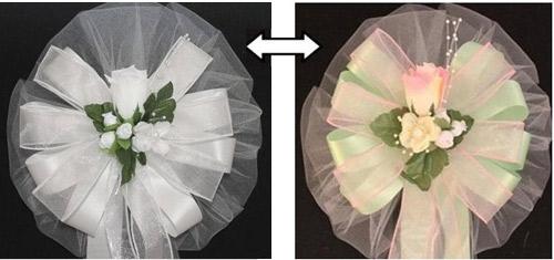 white wedding pew bows
