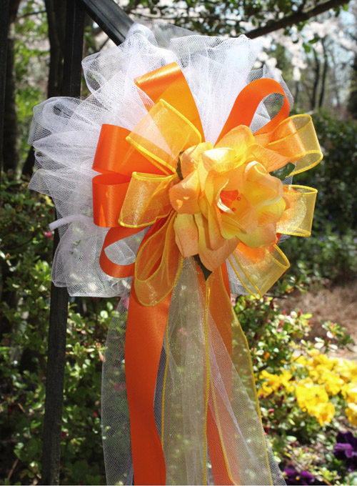 orange yellow wedding bows