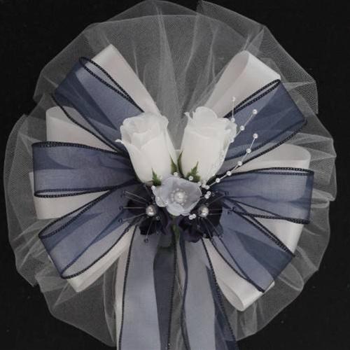 white navy wedding pew bows