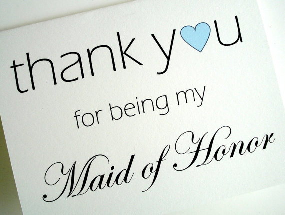 Wedding Thank You Cards maid honor