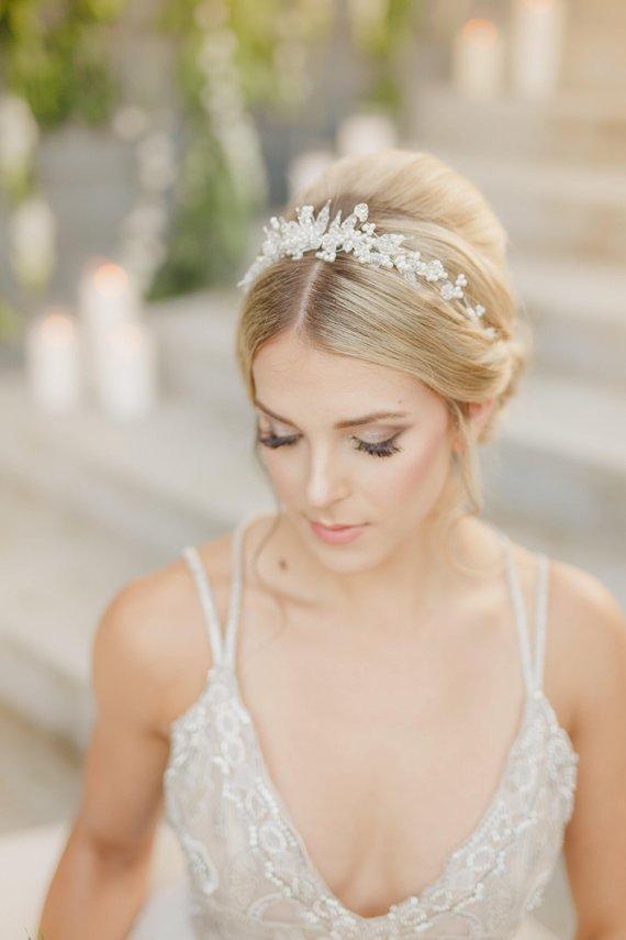 Crystal, wedding tiara, vintage, crystal beads, glass, pearl
