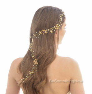 Gold, Wedding Hair Vine, Wired Pearls, and Metal Flowers