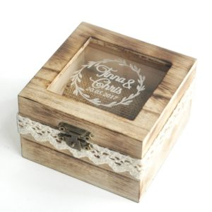 Wood, wedding box, personalized, lace, farm, flowers