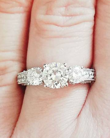 3 Stone Engagement Ring Size 6.25 1.5 Ctw