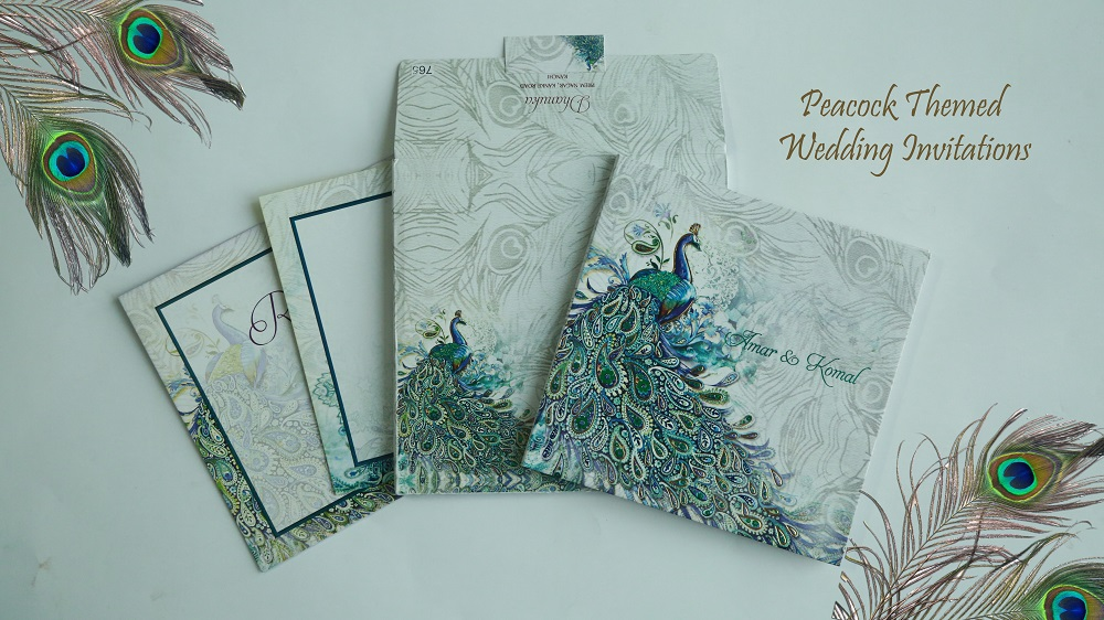 Designer Peacock Theme Wedding Invitation Cards - A2zweddingcards