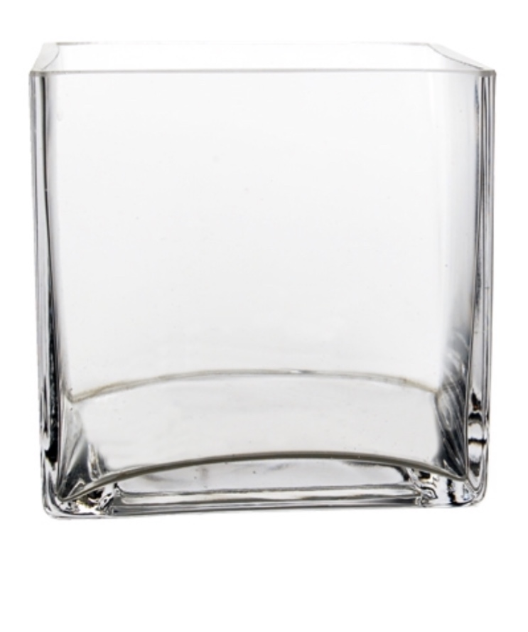 Low Square Glass Vase - Set Of 10