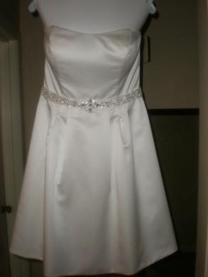 Short Satin A-line Wedding Dress
