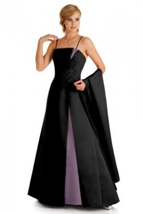 Alexia Design - A-line Black Gown With Victorian Lilac Inserts