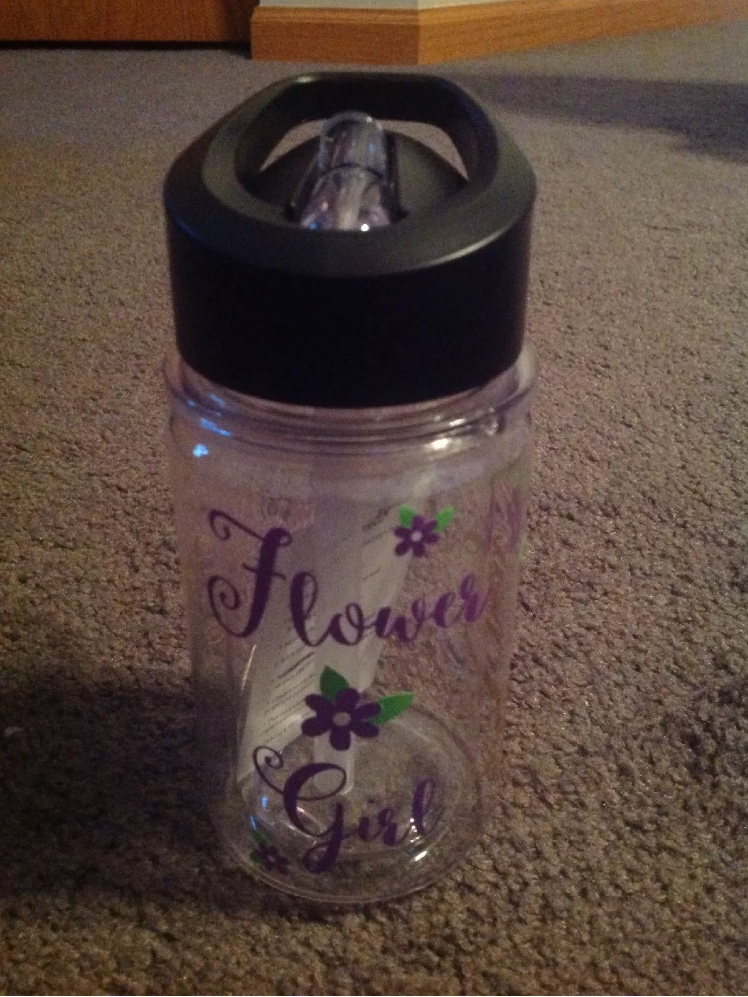 Flower Girl Double Wall Tristan Water Bottle 10oz Purple And Gold With Name Emy